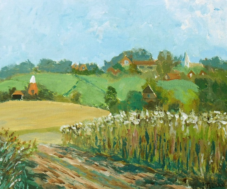 Fields and buildings at Pluckley, Kent - An original acrylic painting in its own wooden frame. - Image 0