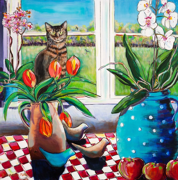 KITCHEN TABLE STILL LIFE WITH CAT - Image 0