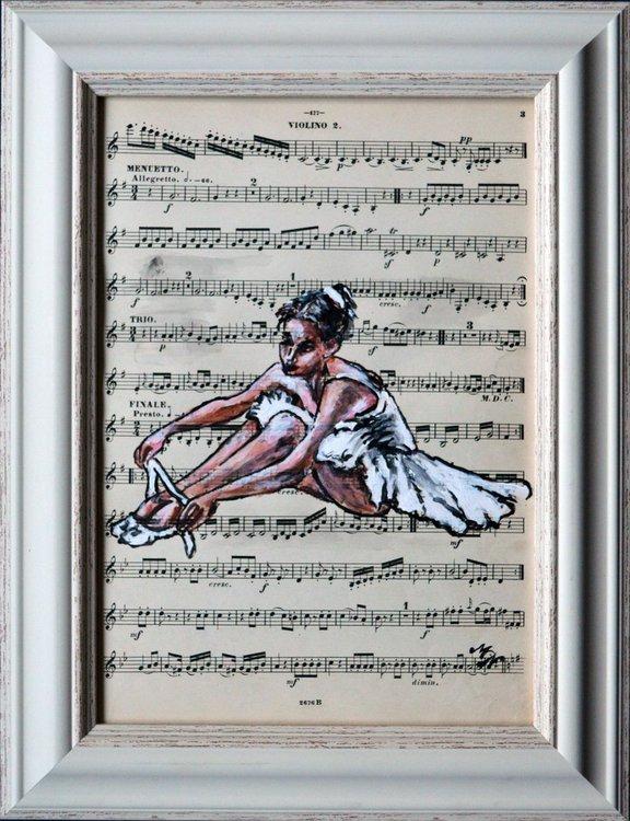 Framed Ballerina XI -Vintage Music Page, GIFT id   Artfinder