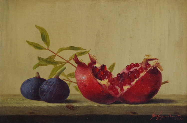 Still Life, Fruits, Pomegranate Original oil Painting, Classic Art, Handmade painting, One of a Kind - Image 0