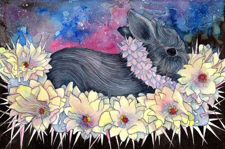 bunny and cactus flowers