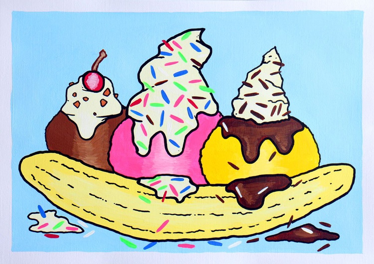 Banana Split Dessert Pop Art Painting On A4 Paper - Image 0