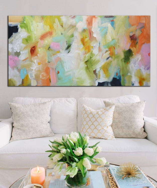 Garden of Delights - Original white blue painting on canvas, abstract floral painting, modern art - Image 0