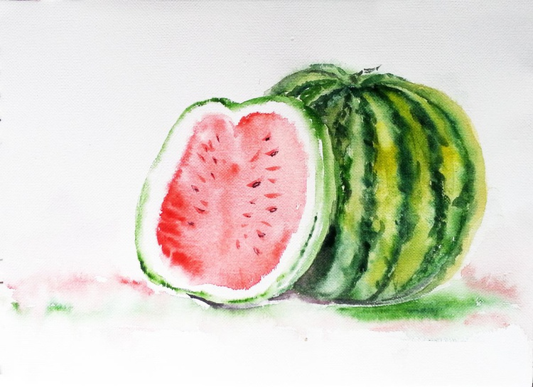 """Watermelon- Melons-Cut and whole 11.5""""x  8.5"""" Watercolors on handmade paper - Image 0"""