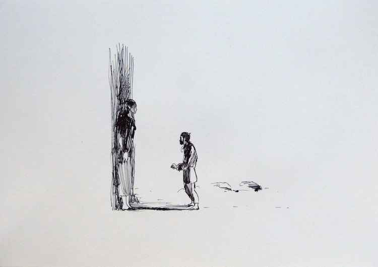 A tall woman and a little man, 29x42 cm -