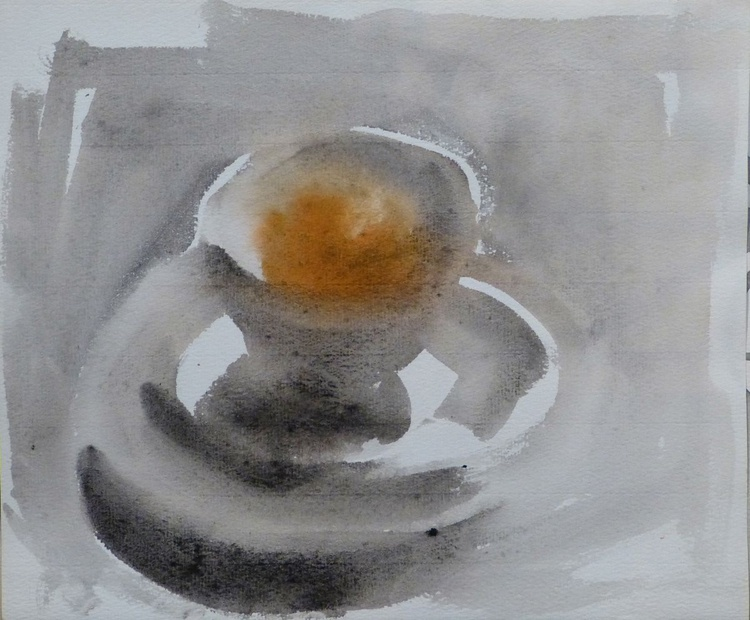 Still Life with A Tea Cup and an Orange #5, 26x21 cm - Image 0