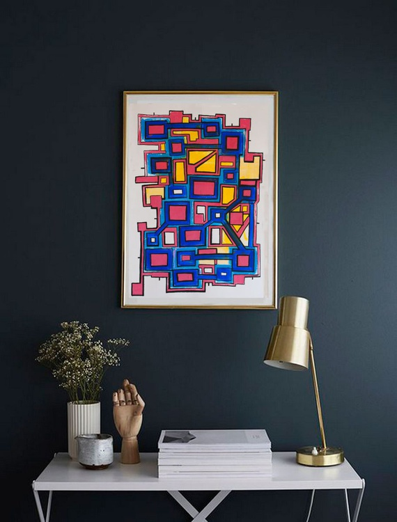 Abstract Geometric Map Original Acrylic Artwork - Image 0