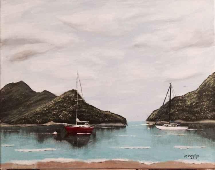 Moored Sailboats -