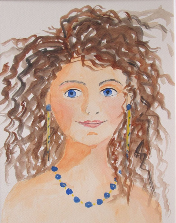 SWEETIE PIE, girl portrait painting, Original Watercolour - Image 0