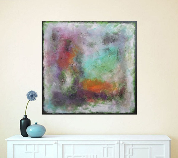 """37,5 by 37,5""""(95x95cm) ,""""Space Energy 2 '',  square abstract painting - Image 0"""