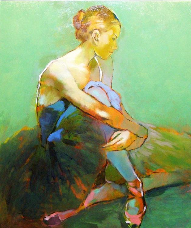 Ballerina In Green Background - Image 0