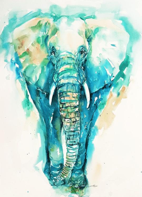 Teal N Turquoise Elephant - Image 0
