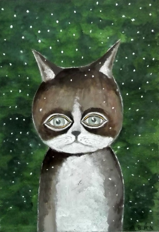 The cat in the snow - oil on paper - Image 0