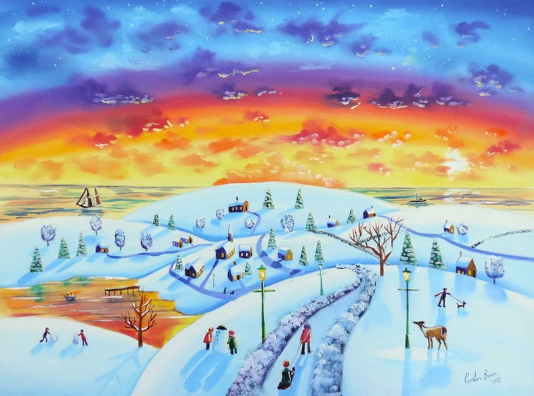 Naive art Winter Town oil on canvas - Image 0