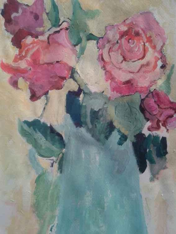 Pink Roses in a Vase -