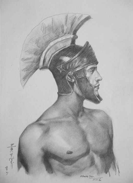 original drawing male nude portrait of man  sketch art on paper #16-2-26 -