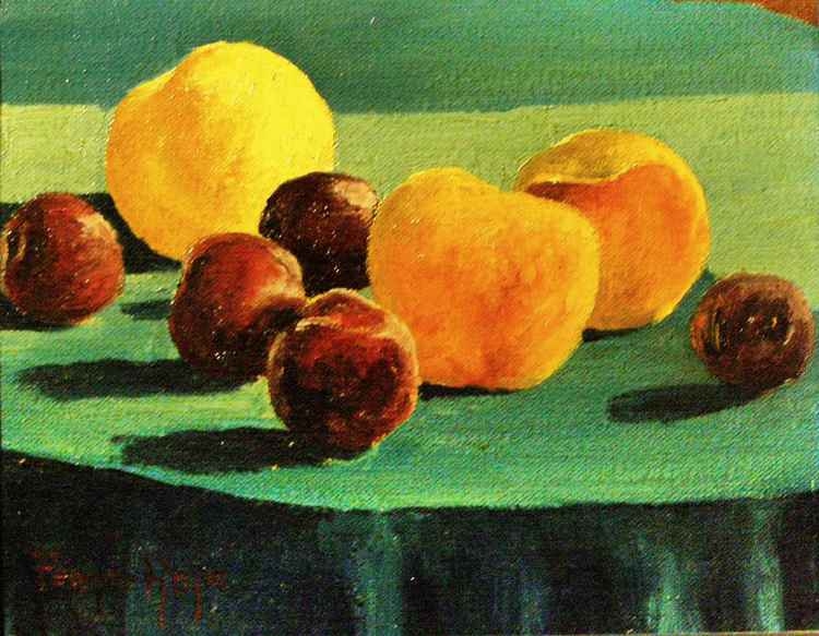 PLUMS AND PEACHES ON BLUE TABLE