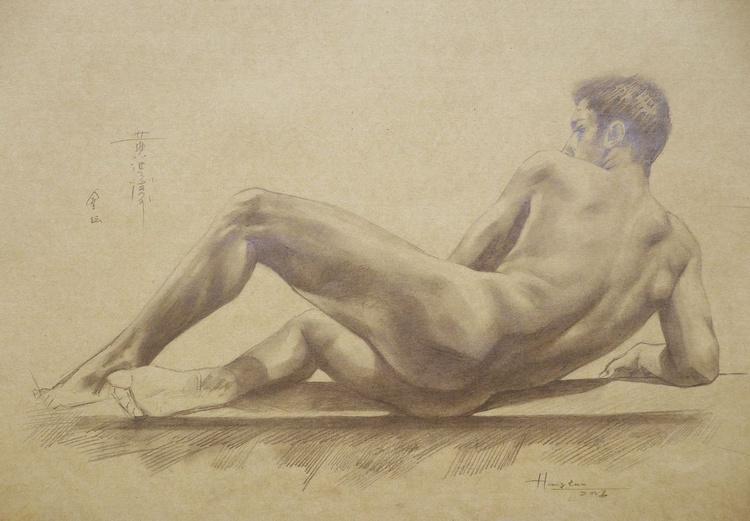original art drawing pencil  male nude man on brown paper #16-6-1 - Image 0