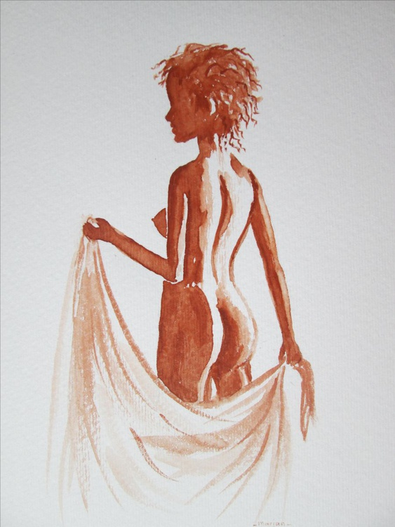 """NUDE IN BROWNS"", gift for Adults, sexy, original watercolour to fit your 10x12inch frame - Image 0"