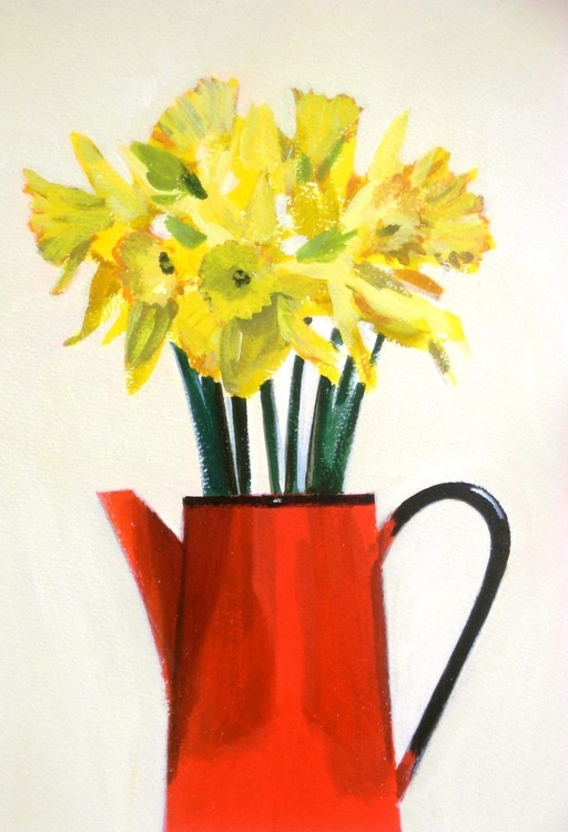 Daffodils in Red Jug - Image 0