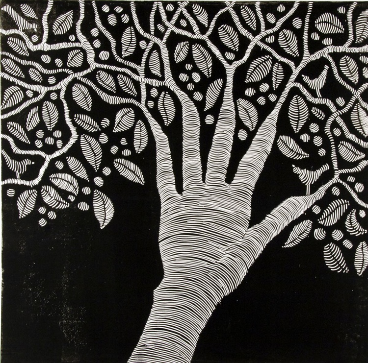 Create, black and white linocut - Image 0