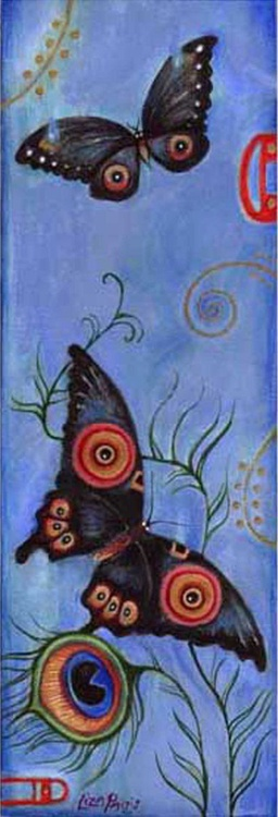 Japanese Butterflies original painting butterflies with peacock feather - Image 0