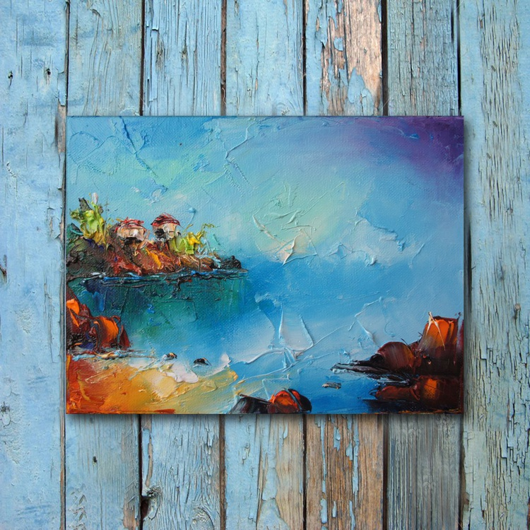 Blue times, oil Painting, ree shipping - Image 0
