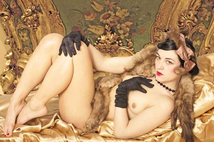 Nude with Black Gloves