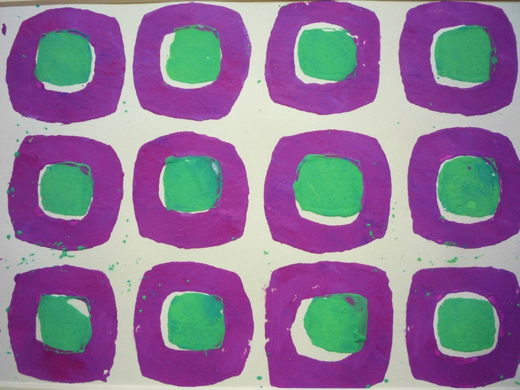 Purple and green on cream 1 - Image 0