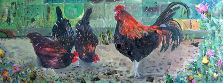 Cockerel with hens - Image 0