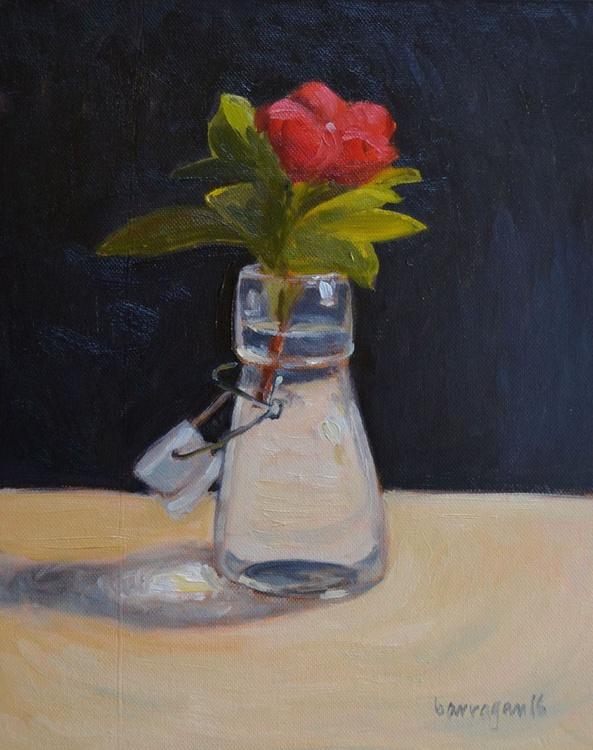 My Little Pervinka in Glass Bottle Pink Flower Still Life Oil Painting - Image 0
