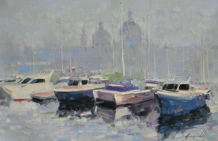 Sail Boats Original Handmade oil painting on Canvas - Image 0
