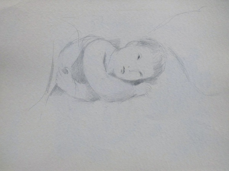 Baby in bed, 36x48 cm - Image 0