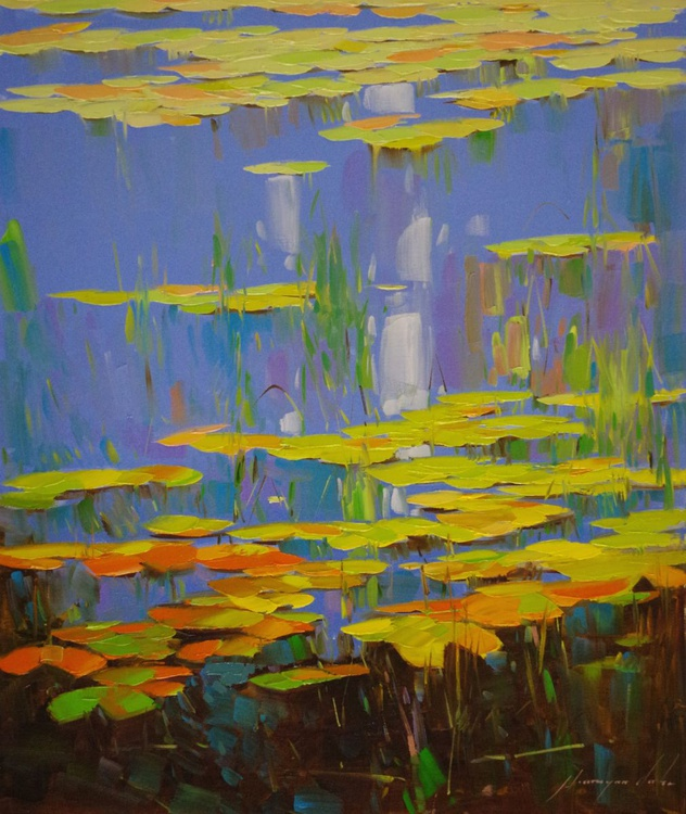 Water lilies - Garden, Original oil Painting Handmade artwork One of a Kind, Large Size - Image 0