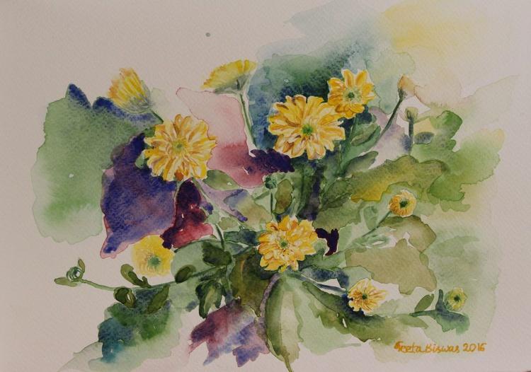 Yellow Chrysanthemum flowers still life in watercolor - Image 0