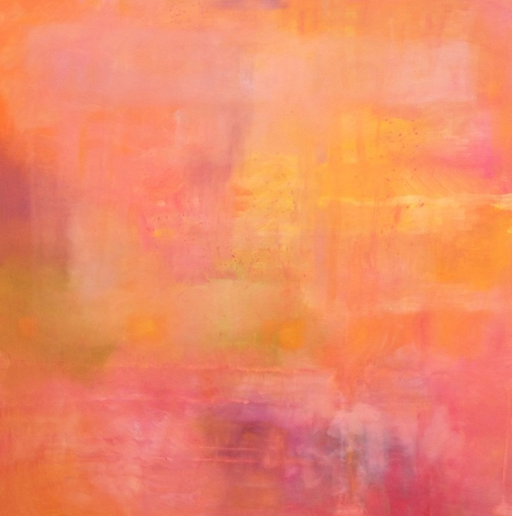 SUNSET: Large Abstract Oil Painting (100 x 100 cm) on 100% Linen canvas - Image 0