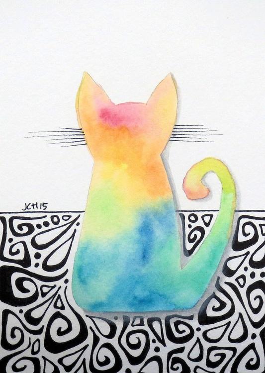 Tie Dye Kitten with Hippie Swirls - Image 0