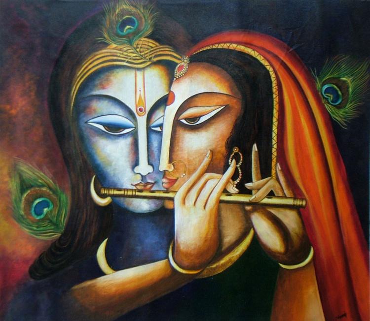 Divine Companions Krishna and Radha - Image 0