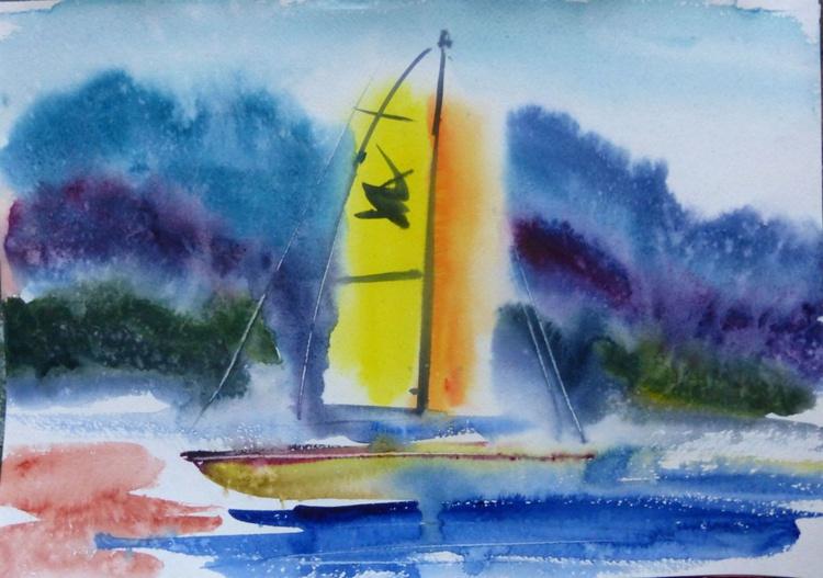 Yellow sailboat, 42x30 cm - Image 0
