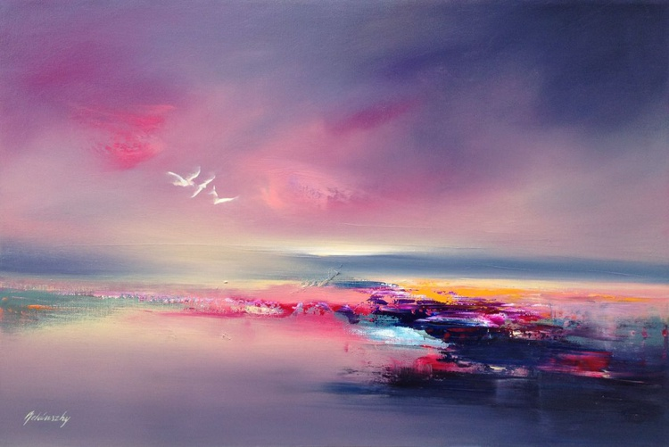 The Three of Us - 60 x 90 cm abstract landscape oil painting in gray, pink and turquoise - Image 0