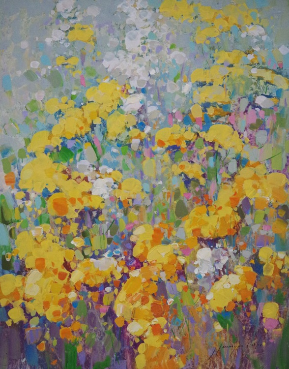 Yellow Spring Flowers, Original oil painting,  Handmade artwork, One of a kind Signed with Certificate of Authenticity - Image 0
