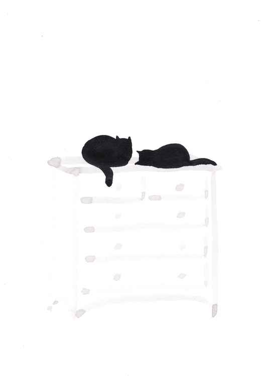 Two cats on a dresser 2130B