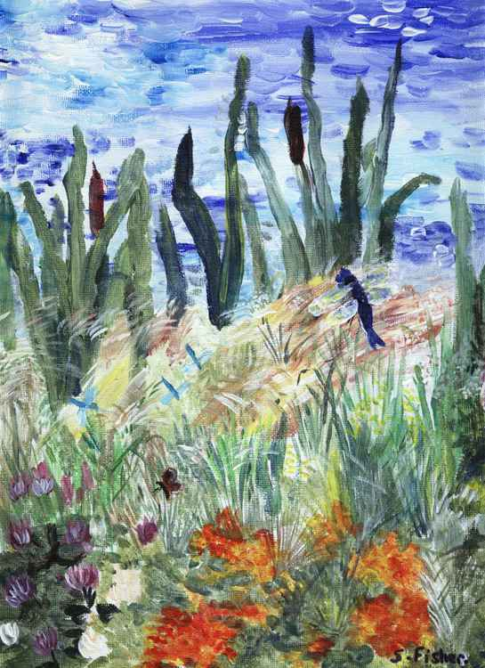 bullrushes and wildflowers