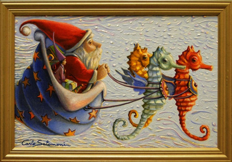 THE SEAHORSES OF SANTA CLAUS- ( framed ). - Image 0