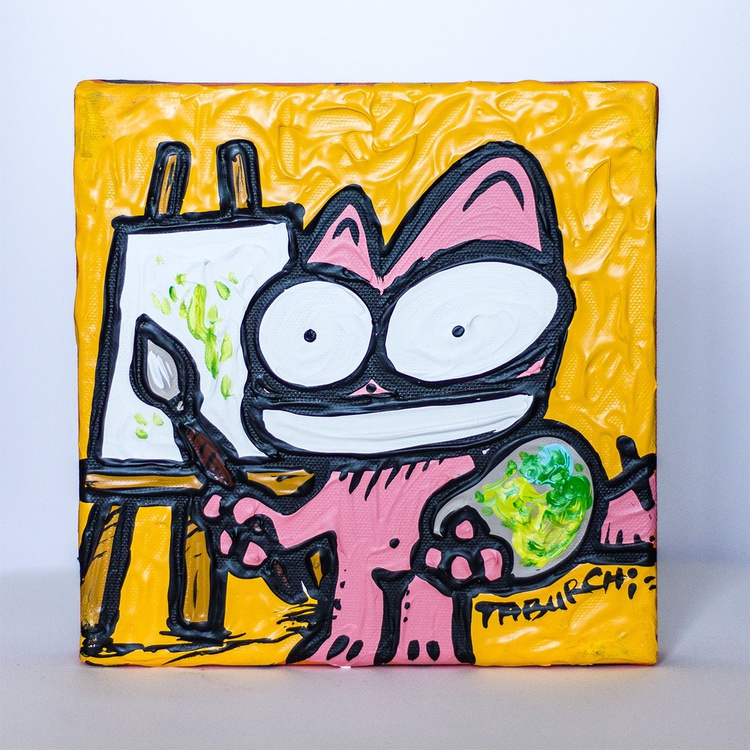 The Pink Cat as a painter - Image 0
