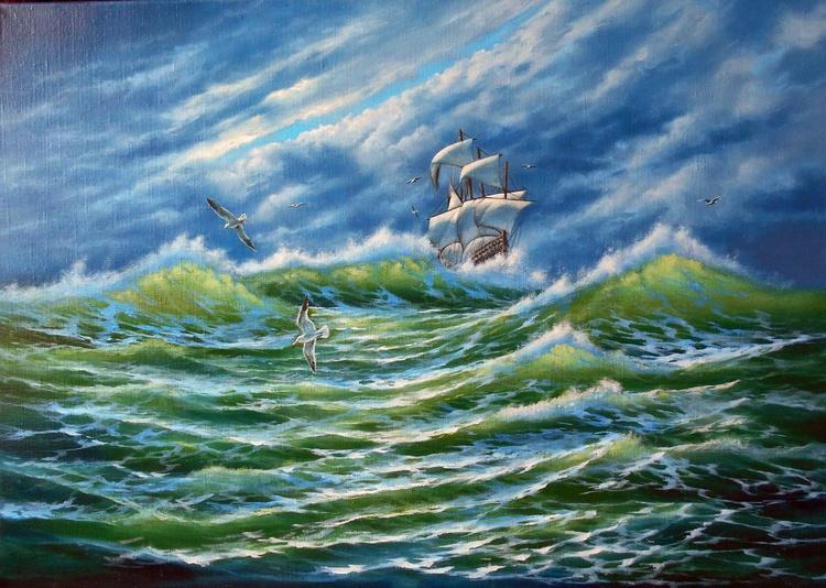 Storm, Original oil on canvas - Image 0