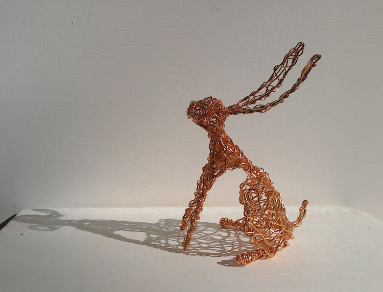 Big Ears - copper wirework hare sculpture. - Image 0