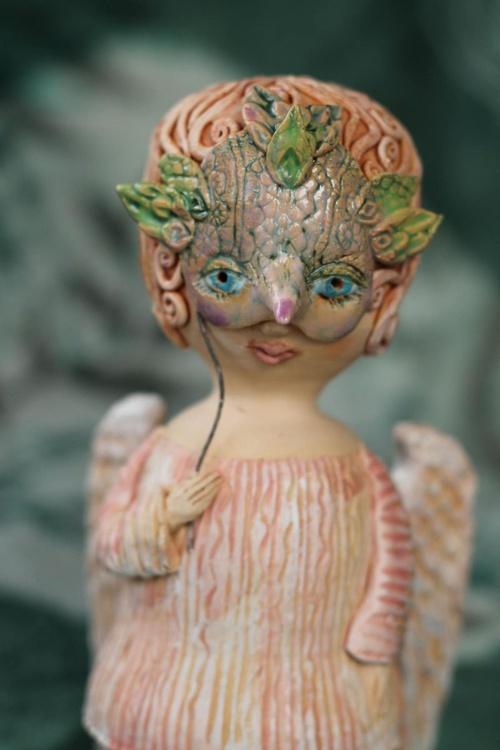 Angels games II. Ceramic OOAK sculpture. - Image 0