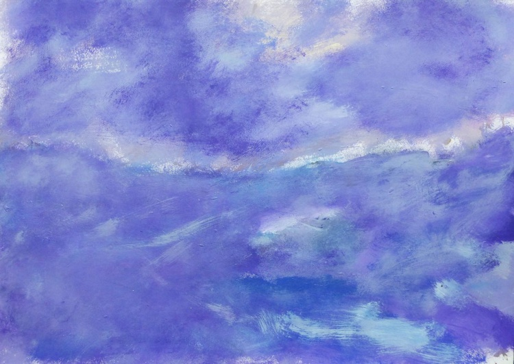 Landscape. Seascape. Sea, waves and clouds.  42x60cm - Image 0