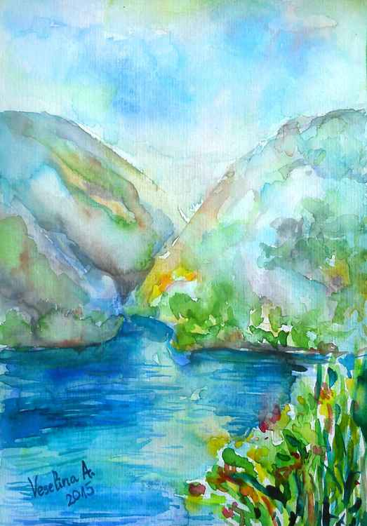 Blue landscape watercolour -